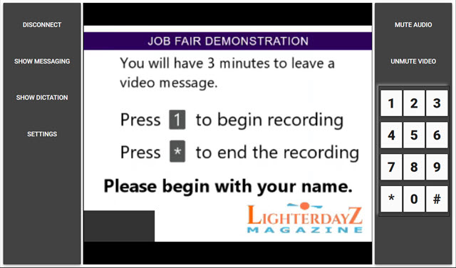 Preview to Leaving a Message-You will have 3 minutes to leave a video message-press 1 to continue-Please begin with name