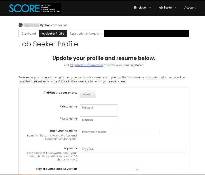 Job Seeker Profile Update your profile and resume
