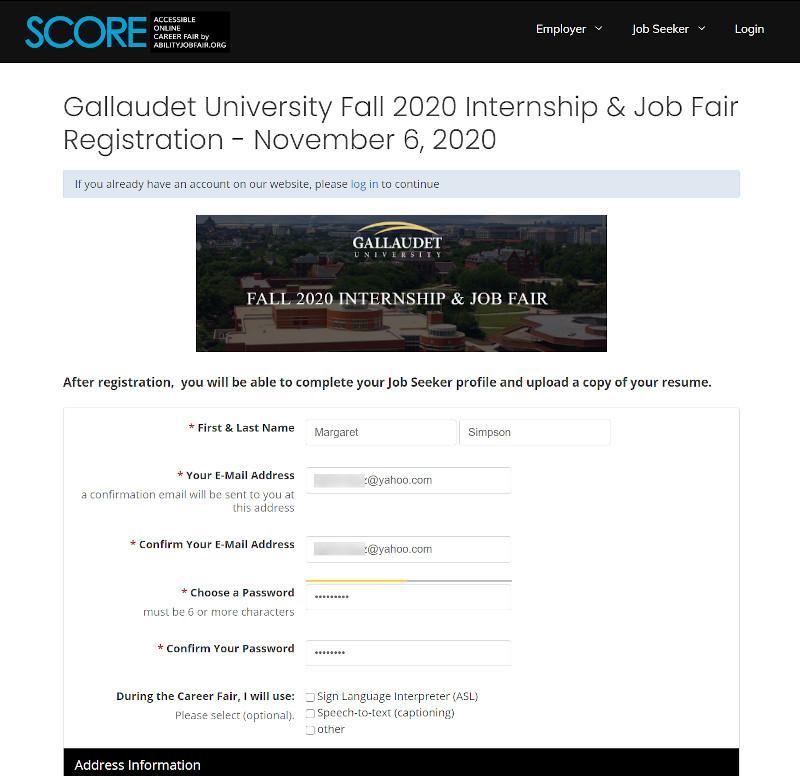 Registration Page for Gallaudet job fair event